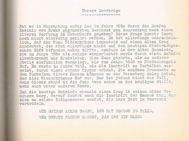 Aus der Chronik Ernst Klaas
